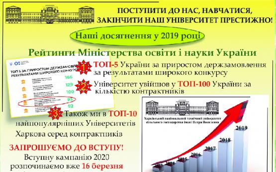 Навчатися в ХНТУСГ ім. П.Василенка престижно!